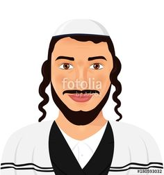 Vector: Orthodox jewish man with hat in traditional suit jerusalem israel avatar style vector Illustration isolated on white background.
