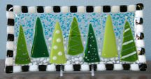 Winter Trees Fused Glass Platter
