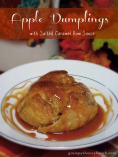 Apple Dumplings with Salted Caramel Rum Sauce #SundaySupper