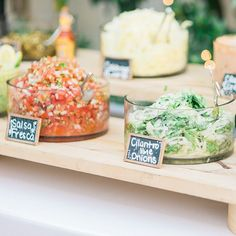 Brides.com: . A build-your-own taco bar with fresh toppings like salsa, cilantro, lime, and onions.