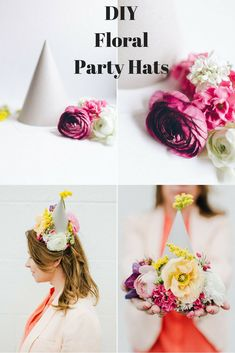 Pretty DIY floral party hats for birthdays or even a bridal shower! | DIY party decor | floral party decor ideas | spring parties | birthday party hats | bridal shower ideas |