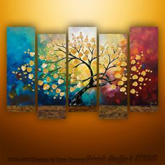 Original Modern Landscape Asian Tree Blossom Textured Painting Art by Gabriela 50x30 LARGE. $279.00, via Etsy.