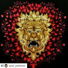 #Repost @quel_pedroso ・・・ Meu leão de ouro.....ficou melhor do que eu esperava! 😍😍😍 #florestaencantada #enchantedforest #editorasextante #johannabasford  #florestaencantadatop #inspiracaojardimsecreto #minha_florestaencantada #coloriagenostress #colouringbook #colorindolivrostop #jardimsecreto  #secretgarden #jardimcolorido #fabercastellbr #oceanoperdidotop #terapianojardim