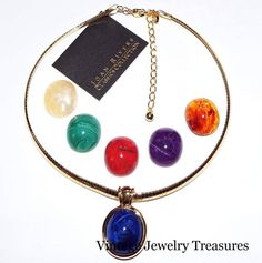Joan Rivers Changeable Pendant Necklace Simulated Gemstones Gold Tone ESTATE #JoanRivers #Changeable