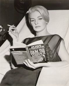 Joanne Woodward reading on the set of From the Terrace.    From the Terrace (1960) is a film directed by Mark Robson and starring Paul Newman, Joanne Woodward, Myrna Loy, Barbara Eden, Ina Balin, and Leon Ames.    The screenplay was written by Ernest Lehman based on the 1958 novel by John O'Hara that tells the story of the estranged son of a Pennsylvania factory owner who marries into a prestigious family and moves to New York to seek his fortune.