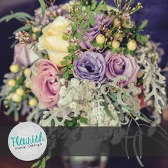 Bride and Bridesmaids Bouquets by Fleurish Floral Design | Purple Ocean Song Roses, Pink Roses, Creme de la Creme Roses, Purple and Pink Lisianthus, Cream Hypericum Berries, Dusty Miller, Maidenhair Fern, Lacy Eucalyptus, Baby's Breath, and Pink Waxflower