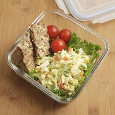 Crunchy carrot, cucumber and scallions are a colorful addition to this vegetarian egg salad recipe. Pack it with some crunchy crackers and tomatoes for a healthy, light lunch.