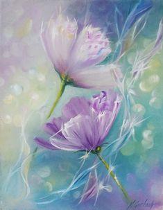 Pintura al óleo ORIGINAL pequeña flor pintura por NadiaGurkovaArt