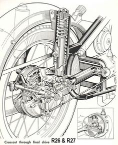 Rear Shock parts - Rear drive - Tools - Singles & Motos Bmw, Bmw Scrambler, Bmw Motorcycles, Estilo Cafe Racer, Bmw Cafe Racer, Motorcycle Posters, Motorcycle Art, Technical Illustration, Technical Drawing