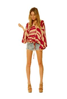 Shop the Bardot Top in Navy Spiral (Berry Spiral Pictured)! #ramonalarue #bardottop #navy #spiral #berry #top #bohemianstyle #print #kimono #sleeves #clothing #fashion #miamistyle #boutique #designer