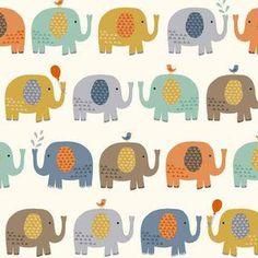 Makower UK - Baby Jungle - Elephants in Cream