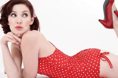 Please tell me I'll never be too old for red polka dotted swimwear... vintage cut.