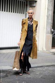 the harness & the suede & then throw in gladiators and BAM! stunning. #AnjaRubik #offduty in Paris.
