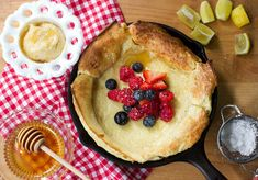 Berry Dutch Baby Pancake with Spiced Honey Butter