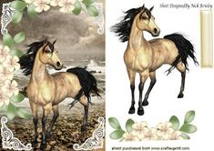 Beautiful horse by the edge of the sea shore with flowers on Craftsuprint - Add To Basket!