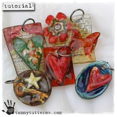very comprehensive tutorial with photos for faux fused glass pendants using shrink plastic and utee