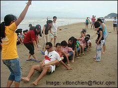 team building exercises: bucket dump and human centipede
