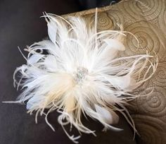 This beautiful fascinator is made with hackle, ostrich, and hand stripped feathers with crystal bead center. Approximately 5 dia. (can be made