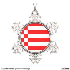 Flag of Bremen Pewter Snowflake Decoration