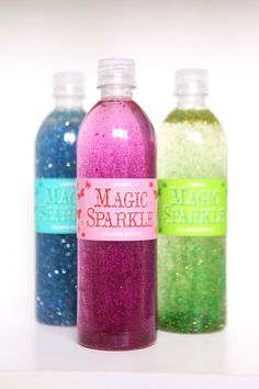 """Make your own """"Magic Sparkle Calming Bottle"""" using Elmer's Glitter Glue, water, and even more glitter! Great calming method for children and also a sensory experience for your little ones."""