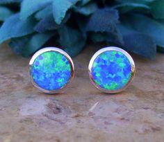 Beautiful Fire Opal Earrings set in Sterling Silver by AleaMariCo, $29 + free shipping