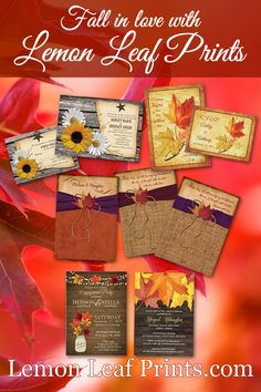 Here is an assortment of some of our autumn leaves wedding designs. Fine them all here: http://lemonleafprints.com/?subcats=Y&status=A&pshort=Y&pfull=Y&pname=Y&pkeywords=Y&search_performed=Y&q=autumn+leaves+wedding&dispatch=products.search