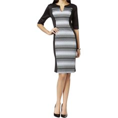 f4a58a7a3d Connected Apparel Womens Jersey Printed Wear to Work Dress