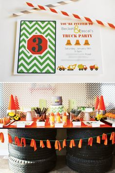 Tire table! Would be cute for Logan's party, maybe gift table. With board wrapped in a bright red or blue plastic table cloth.
