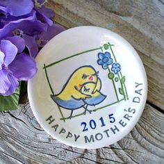 Happy Mothers Ring and Trinket Dish, Ceramic 2015 Mother's Day Ring Bowl, Gift for Mom, Ready to Ship, Mothers Day Gift