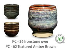 AMACO Potter's Choice layered glazes PC-62 Textured Amber Brown and PC-36 Ironstone.