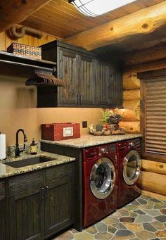 I would love to have a big laundry, mud, and dog wash basin area