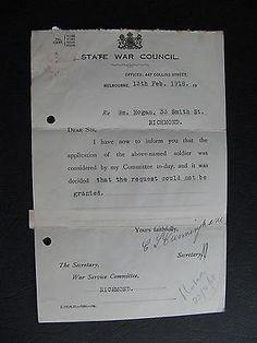 WW1 ANZAC SERVICEMAN  Wm Hogan 33 Smith St Richmond