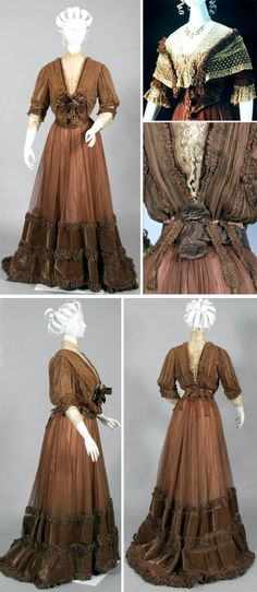 Tea gown, consisting of two bodices and a skirt, silk chiffon, Jays Limited, London, ca. 1895-1901. Powerhouse Museum