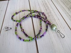 Pretty beaded lanyard for holding your embroidery scissors or security badge or company name tag by EmsJewelry on Etsy