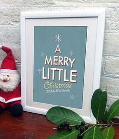Personalised Retro Style Christmas Print - festive wall art