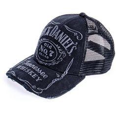 Jack Daniels hat, netted headwear, trucker cap, Jack Daniels merch UK ($22) found on Polyvore