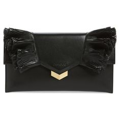 Women's Jimmy Choo Isabella Ruffle Leather Clutch ($1,150) ❤ liked on Polyvore featuring bags, handbags, clutches, black, ruffle purse, laser cut leather purse, jimmy choo handbags, leather handbags and real leather handbags