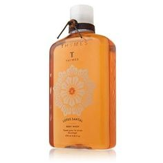 Thymes Lotus Santal Body Wash by Thymes. $14.00. 9.25 oz.. Thymes Lotus Santal Body Wash. fragranced w/ lotus santal, sweet cocoa, vanilla & spices. Transform your shower or bath into a calming retreat to center the mind. This shower gel creates a rich, cleansing lather fragranced with the lulling hush of Lotus Santal.  Enriched with humectant glycerin to nourish and condition the skin. Lotus blossom, a symbol of peace and enlightenment, calms your skin while amaranth se...