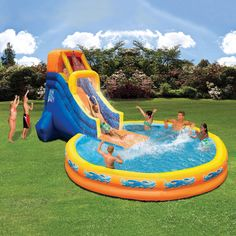 Inflatable Pool With Water Slide Swimming Kids Outdoor Huge Cool Big Commercial (Cool Pools With Slides) Water Slides Backyard, Cool Water Slides, Blow Up Water Slide, Backyard Water Parks, Pool Slides, Kids Water Slide, Inflatable Water Park, Bouncy House, Kid Pool