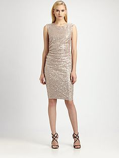 David Meister Sequined Bow-Back Dress