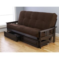 Somette Beli Mont Espresso Full-Size Futon Set with Suede Mattress and Storage Drawers (Brown)