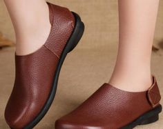 Handmade Flat Shoes for Women, Casual Brown Shoes, Soft Shoes, Leather Shoes
