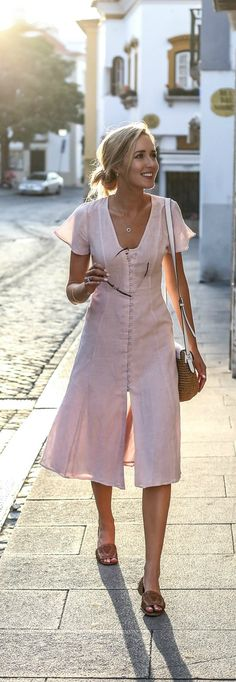 light pink linen maxi dress, woven crossbody bag, woven flats + messy bun hairstyle {privacy please, michael kors} {portugal travel guide}
