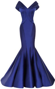 The shape on this dress is absolutely incredible!  Zac Posen Draped Duchesse Satin Gown Cobalt #style #affiliate #fashion