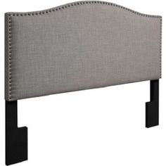 Walmart: Grayson Linen Full/Queen Headboard with Nailheads, Gray Bedroom Window Dressing, Gray Upholstered Headboard, Cloth Headboard, Trendy Bedroom, Girls Bedroom, Bohemian Bedrooms, Eclectic Bedrooms, Bedroom Ideas, Master Bedroom