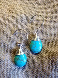 Hey, I found this really awesome Etsy listing at https://www.etsy.com/listing/155932533/silver-wire-wrapped-turquoise-drop