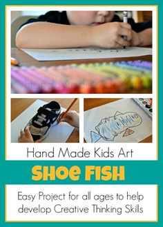Easy drawing project from @Hand Made Kids Art for all ages to help develop creative thinking skills.   #handmadekidsart #drawing #kidsart