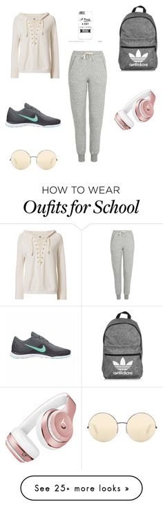 """""""Cute and comfy school clothes"""" by nattiestyle on Polyvore featuring NSF, Topshop, NIKE, adidas, Beats by Dr. Dre and Victoria Beckham"""