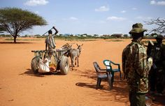 Reuters / Friday, December 05, 2014  A man rides in a donkey cart past Kenya policemen as he crosses from Kenya into Somalia at the border town of Mandera, Kenya.