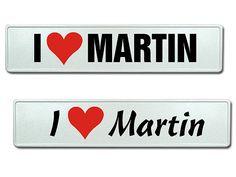 Autokennzeichen für Verliebte -  I love und der Vorname als Wunschtext
